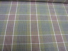 4mts HIGH QUALITY 100% 2-PLY COTTON ITALIAN  LARGE CHECK FABRIC BROWN/GREEN