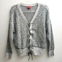 Daytrip Cardigan Sz Large Grey Black Lightweight Criss Cross Tie Sweater