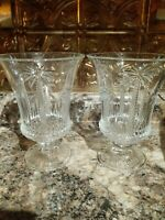 """2 Crystal Candlestick Holders 7 1/2"""" Tall With Palm Tree Design (set)"""