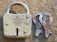 """Vintage Pressed Steel Yale & Towne Yale Junior Padlock & Original Keys  2-1/8"""""""