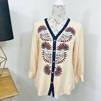 British India Traveller Boho Tunic Top Floral Embroidered Long Sleeve Size 12 14