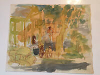"Emil Hess Signed ""River & Country"" DOUBLE SIDED Original Watercolor 9.5 x 8"