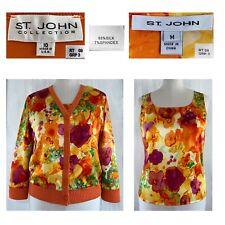 ST JOHN Sz 10 Silk Floral 3/4 Sleeve V Neck Bomber Jacket + Top 2 piece Set EUC