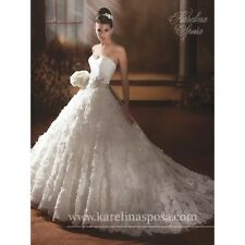 KARELINA SPOSA WEDDING DRESS #C7886 STRAPLESS ROSETTE PATTERN SKIRT IVORY SIZE 8