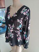 Piper Top Plus Size 18/20 Black Floral V Neck Longer Slv Elegant Work Career New