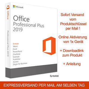 Microsoft Office 2019 Professional Plus Retail Word Exel Outlook Produktkey DE