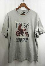 "BARBOUR INTERNATiONAL MOTORCYCLE T SHiRT XXL Gray ""Since 1936...Original...Best"""