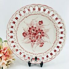 New ListingJay Willfred Plate Andrea by Sadek Made in Portugal Burgundy Flowers Reticulated