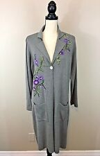 Spiegel Women's Duster Sweater Long Cardigan Wool Size L Grey Embroidered Floral