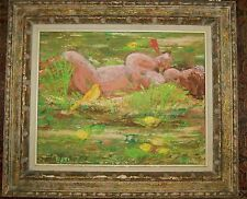 MID CENTURY IMPRESSIONISTIC ANGEL IN THE GRASS -SWEET BABY ORIGINAL OIL PAINTING