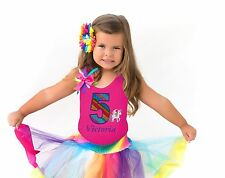Bubblegum Divas Girls Unicorn Shirt 5th Birthday Outfit Rainbow Tutu Skirt 5