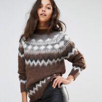 ASOS Alpaca Fair Isle Fluffy Knit Wool Brown Icelandic Sweater Size Women's XL