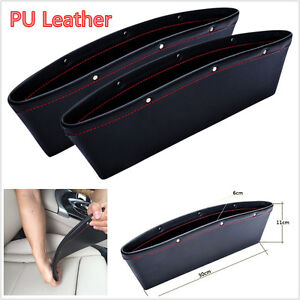 2 Pcs Black PU Leather Car Seat Catcher Gap Slit Pocket Storage Leak-proof Box