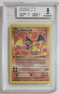 Pokemon CHARIZARD 4/102 Shadowless Base Set 1st Edition Thick Stamp Holo BGS 8