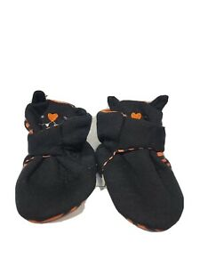 Black Bat - Halloween themed booties with face and ears - size 6-9 mos - NEW
