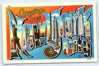 Greetings from New York City vintage postcard large letter linen NY