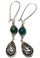 A Pair Long Green Earrings Tibetan Silver Style Marbled glass bead Boho Hippy