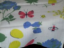 Vintage NOVELTY Feedsack Butterflies Beetles Bees Strawberries Fruit Flowers