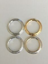 New GUCCI Gold & Silver Tone Plain & Diamond Cut Metal Bezel 11/12 Bangle Watch
