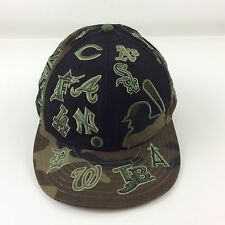 New Era 59Fifty Hat Size 7-7/8 MLB All Teams Brown Green Camo & Black Wool Blend