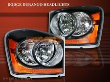 2004-2006 DODGE DURANGO BLACK AMBER HEADLIGHTS PAIR OE STYLE HEAD LAMPS NEW