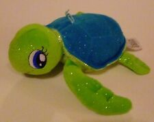 "Fiesta Green And Blue Sparkle Sea Turtle  Sewn Eyes    Plush 7"" Stuffed Animal"