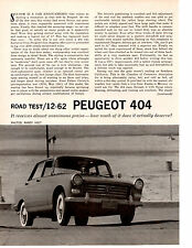 1962 PEUGOT 404 ~ ORIGINAL 4-PAGE ROAD TEST / ARTICLE / AD