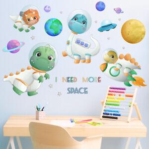 Cartoon Space Astronauts Wall Sticker Dinosaur Decal for Child Boy Girl Nursery