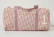 CHRISTIAN DIOR Pink+White Canvas DIORISSIMO 1 Monogram Satchel Bag Handbag Purse