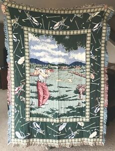 Goodwin Weavers Golf Theme Tapestry Throw Blanket Fringed Man Cave Discontinued
