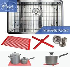 "Ariel 30"" 15mm Radius Square Stainless Steel Single Bowl Kitchen Sink Combo 16G"