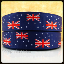 "AUSSIE FLAGS Ribbon. 1"" Grosgrain. BLUE. Scrapbooking/Craft/Bows. AUSTRALIA FLAG"