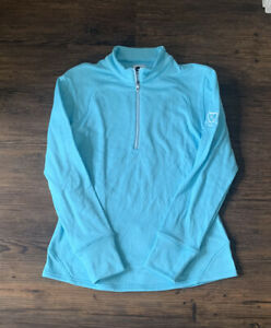 Women's FootJoy Golf 1/2 Zip Pullover Sz Small Lt Blue Golf Course Logo Sleeve