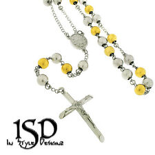 """Tone Chain Necklace 32"""" + 7"""" Stainless Steel Men's Women's 8mm Rosary Two"""