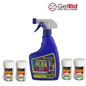 Flea Killer Treatment Smoke Fogger Insect Bomb + Spray Kit Kills Fleas Tick Home