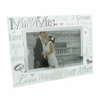 """NEW Glass Hearts Love Mr and Mrs Photo Frame 6x4"""" Landscape Picture Wedding Gift"""