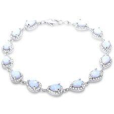 Pear Shape White Opal & Cz .925 Sterling Silver Bracelet