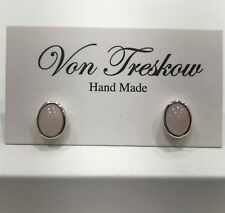 Von Treskow Earrings Rose Quartz Pink Stud Sterling Silver 925 Natural Stone