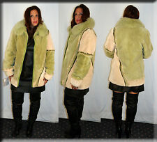 New Apple Green Sheared Beaver Fur Jacket Fox Collar Size Small 4 6 S