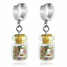 Stainless Steel Drop Huggie Earrings Poison Glass Bottle with Glitter Beads Pair
