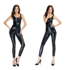 sexy Faux Leather Stretch Catsuit Lace Insert Legs Halloween Costume