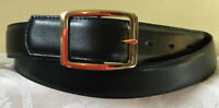 Men's Black Genuine Leather Belt Double Sided Buckle Size 50/125 NWOT