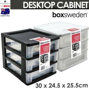 Multi-Tiers Drawer Desktop Cabinet Storage Stationery Organiser Box Office 30cm