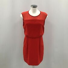 Nuevo vestido para mujer silbidos UK 12 rojo mezcla de seda sin espalda sin mangas de malla de 522369