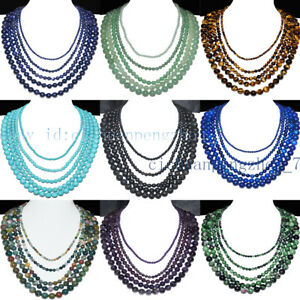 5 Rows Natural 4-6-8-10-12mm Multiple Round Gemstone Beads Necklace 17-23''