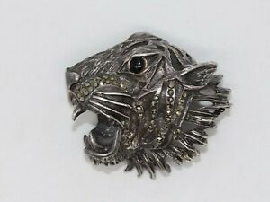 AMAZING VINTAGE SNARLIING TIGER'S HEAD STERLING SILVER & MARCASITE BROOCH