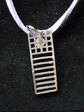 "Mackintosh Chair Back Fine English Pewter On 18"" Purple Cord Necklace codew19"