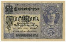 GERMANY, DEUTSCHLAND - 5 Mark 1.8.1917. P56, Ro54c, UNC (D187)