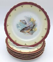 """Set of Six Beautiful Fish Plates 8.75"""" Imperial Crown China Austria 1883 - 1914"""