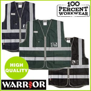 Pro Zipped Executive High Visibility Safety Vest Waistcoat ID Pocket Hi Vis Viz